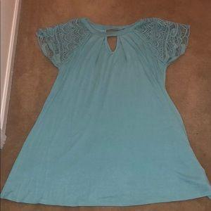 Teal crochet t-shirt dress